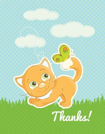 Thank you card with a cute cat illustration Vector