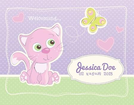 Baby meisje geboorte aankondigingsprentbriefkaar Stock Illustratie