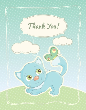 Baby boy thank you standard postcard Vector
