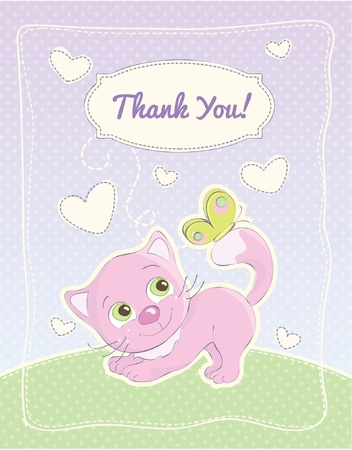 Baby girl thank you standard postcard Vector