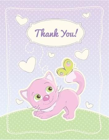 Baby meisje dank je standaard postkaart Stock Illustratie