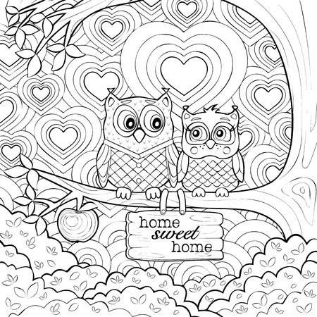 Cute Owls -  Art Therapy Adult Coloring Page Illustration