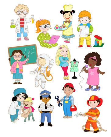 Enfants feignant ups grandi et jouant de leurs futures professions Banque d'images - 47524687