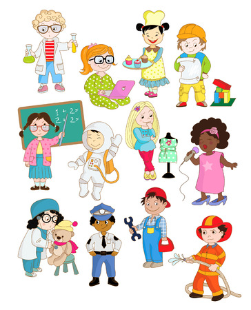 Kinderen doen alsof als volwassenen en het spelen van hun toekomstige beroepen Stock Illustratie