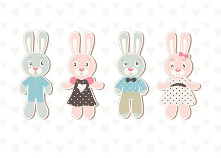 A set of four beautiful vector baby rabbit illustrations