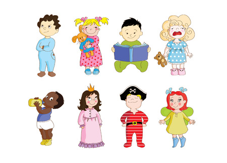 A colorful clip art set of toddlers wearing pajamas and getting ready to sleep. Illustration