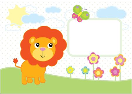 A simple illustration of a cartoon baby lion 矢量图像