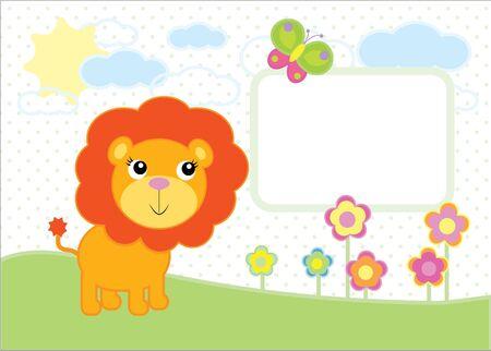 Een eenvoudige illustratie van een cartoon babyleeuw