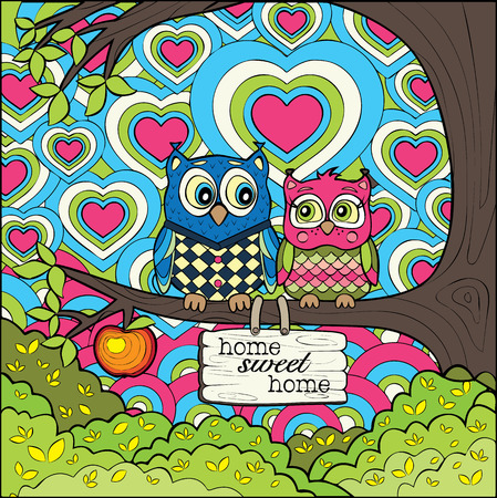 Cute Owls -  Colored Version of The Art Therapy Coloring Page