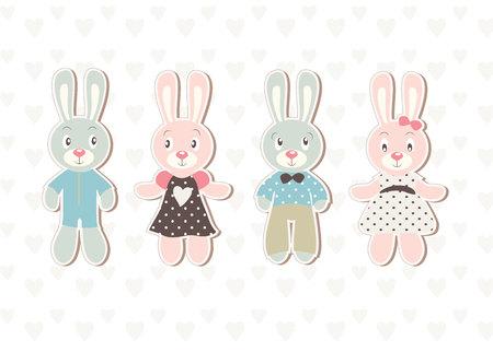 Een set van vier prachtige baby konijn illustraties