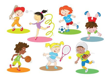 jugando: Niños sanos y activos felices que hacen del arte de clip colección interiores y exteriores de los personajes de dibujos animados de deportes en un estilo sencillo, con combinación de colores de colores.