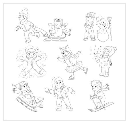 skiing: This is a black and white version of the cartoon characters set. It includes 9 images of kids enjoying winter, snow and having fun.