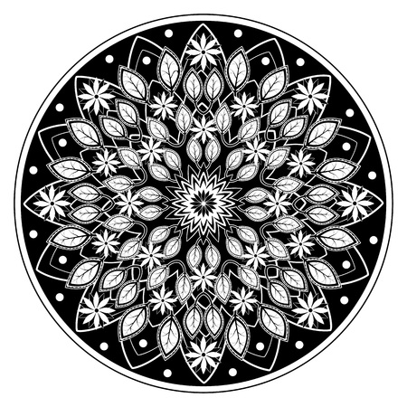 accomplish: Beautiful illustration for an adult coloring book. Because of the black background the finished coloring page will really stand out. Very easy to accomplish even for beginners.