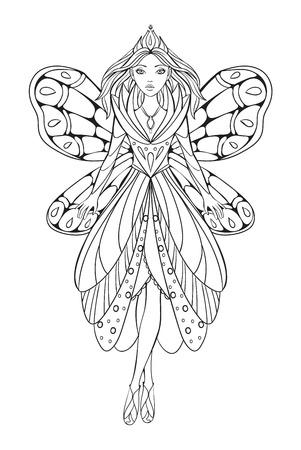 donna farfalla: illustrazione vettoriale di una bella regina fiore fata per una terapia d'arte libro da colorare per adulti