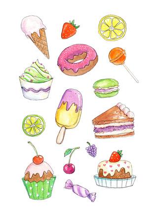 Hand getekende aquarel illustraties van kleurrijke taarten en snoep in een ongedwongen schetsmatige stijl.