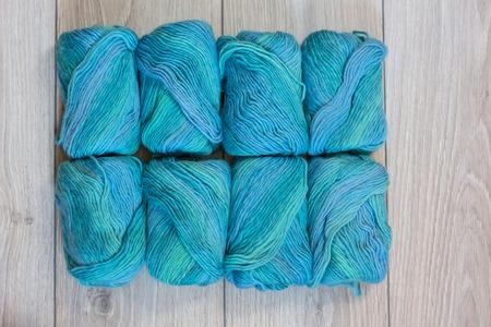 Beautiful background with blue winter yarns 免版税图像