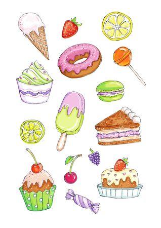 De schetsmatige beeldreeks zoete cakes en suikergoed overhandigt getrokken en gekleurd in een traditionele waterverf of tellersstijl. Zowel de zwart-witversie als de echte aquarelversie van deze illustratie zijn beschikbaar.