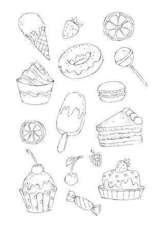 image schetsmatige stijl set van zoete gebakjes en snoep voor een kleurboek. Gekleurde versie en de echte aquarel versie van deze illustratie zijn ook beschikbaar. Stock Illustratie