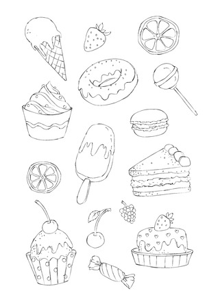Sketchy style image set of sweet cakes and candies for a coloring book. Colored version as well as the real watercolor version of this illustration are  available too.