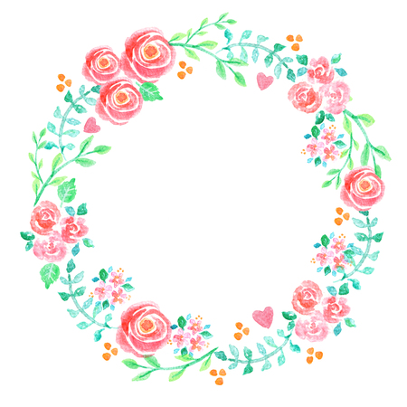 Hand painted watercolor illustration of a floral wreath decorated with beautiful summer flowers and decorative branches and leaves 免版税图像