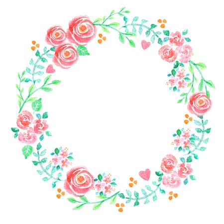 Handgeschilderde aquarel illustratie van een bloemenkrans versierd met prachtige zomer bloemen en decoratieve takken en bladeren Stockfoto