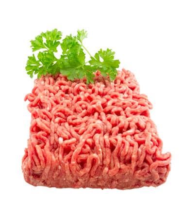 minced: Raw ground beef. isolated on white