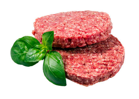 caked: Hand Made From Minced Beef, Pork burgers patties isolated on white background.
