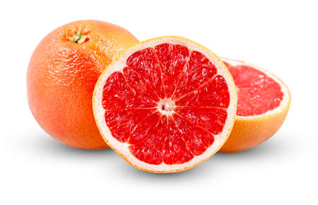 vitamin rich: Fresh Grapefruit with juicy slice. Rich witch vitamin C isolated. Stock Photo