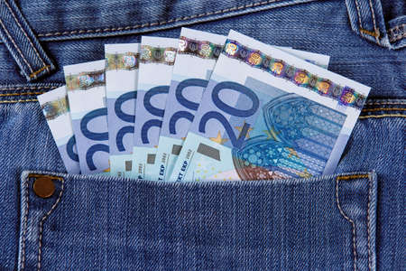twenty euro banknote: Twenty Euro Bank Banknote in the pocket of jeans. European Union. Stock Photo