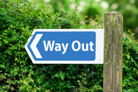 way out: Direction Arrow, Sign To Way Out in Blue Color. Stock Photo