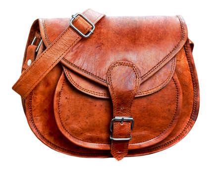 handbag: brown leather handbag, bag. Stock Photo