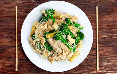 brocoli: Fried Rice Noodles with Pork and brocoli. Stock Photo
