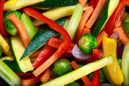 carot: Cooked Roasted Vegetables close up, background, texture. Stock Photo