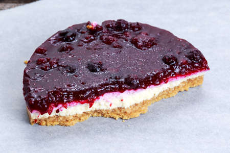 black berry: Black  berry fruit cheesecake on plate. view from top.