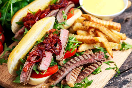 steak sandwich: Perfect steak sandwich with home mayones and chips.