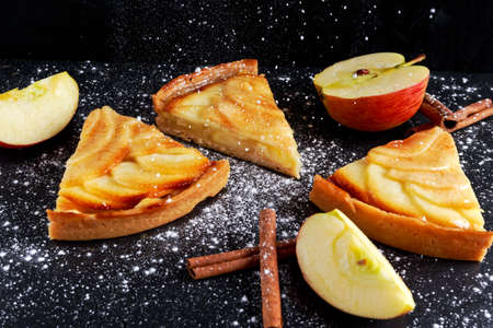 netherlandish: Slice of Golden Bramley apple tart with cinnamon glaze.