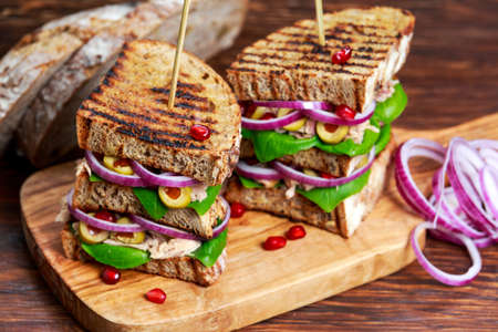 Grilled Tuna Sandwich with onion, olives and pomegranate seeds.