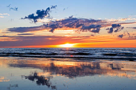 jurmala: Beautiful Sunset Over Baltic Sea with cloud and beams, Jurmala Dzintari.
