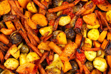 Baked in oven mix of vegetables. view from top.