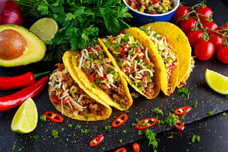 Mexican food - delicious taco shells with ground beef and home made salsa. Stockfoto
