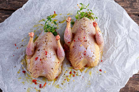 Ready to cook raw seasoned partridges on crumpled paper Stock Photo