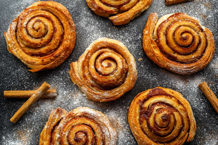 danish: Freshly Baked Traditional Sweet Cinnamon Rolls, Swirl Stock Photo