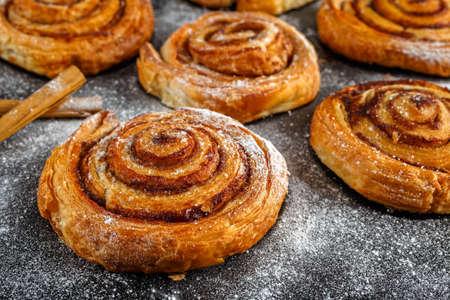 Freshly Baked Traditional Sweet Cinnamon Rolls, Swirl.