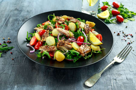 Smoked Mackerel Salad with warm boiled new potato, cherry tomatoes, chopped red onion and Ruccola on black plate. Stock Photo