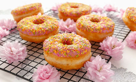 Sweet pink fresh Donut decorated with japanese Flowering Cherry Tree flower