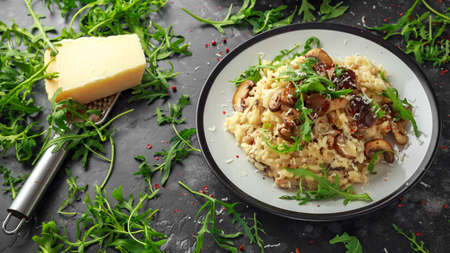 Italian Mushroom risotto with parmesan cheese and wild rocket on top. Foto de archivo - 101230213