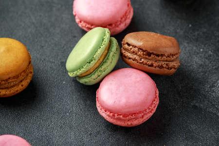 Sweet colorful macarons dessert, almond cake, cookies. selected focus.
