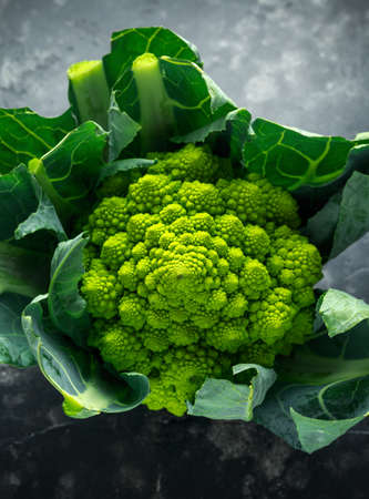 Fresh organic romanesco broccoli cauliflower