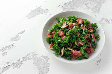 Homemade Kale Mushrooms, Bacon salad with chilli and balsamic vinegar dressing