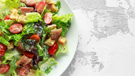 Bacon Lettuce Tomato, BLT salad with creamy dressing sauce, croutons